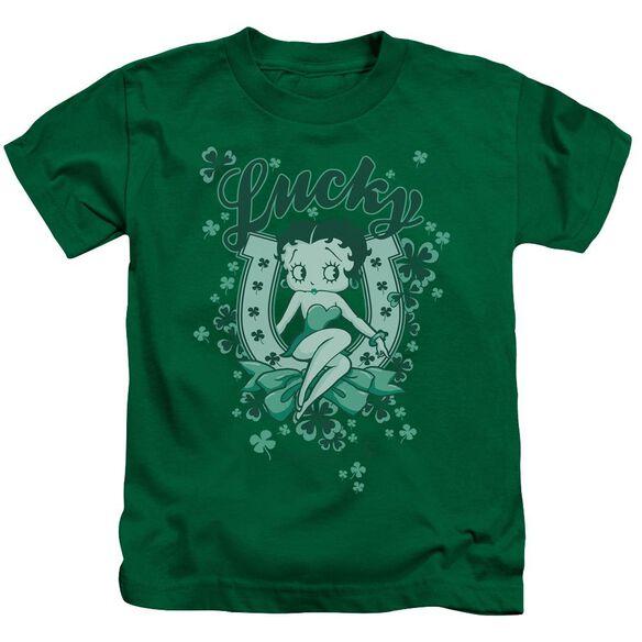 Betty Boop Lucky Boop Short Sleeve Juvenile Kelly Green T-Shirt