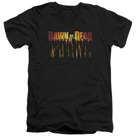 DAWN OF THE DEAD WALKING DEAD - S/S ADULT V-NECK 30/1 - BLACK T-Shirt