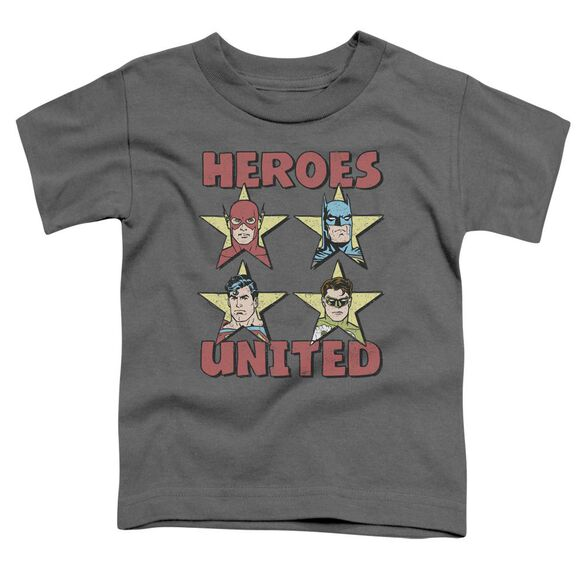 Jla United Stars Short Sleeve Toddler Tee Charcoal T-Shirt