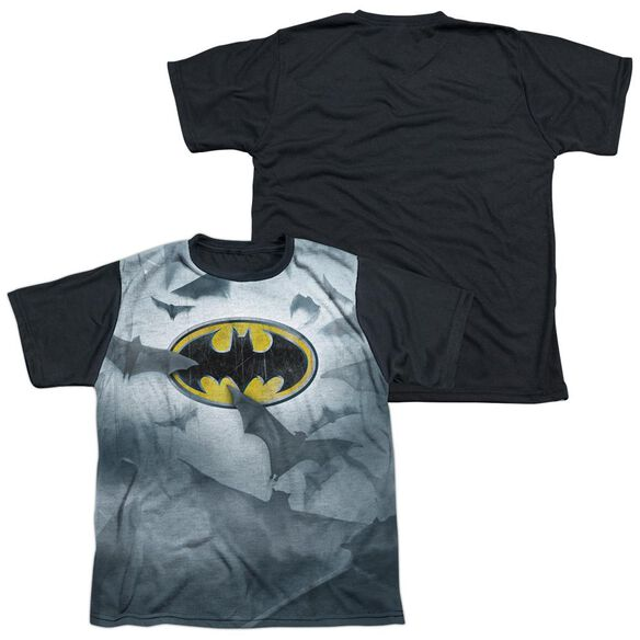 Batman Bats Logo Short Sleeve Youth Front Black Back T-Shirt