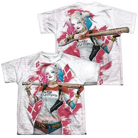 Suicide Squad Harley Drawing (Front Back Print) Short Sleeve Youth Poly Crew T-Shirt