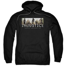 Injustice Gods Among Us Logo Adult Pull Over Hoodie Black