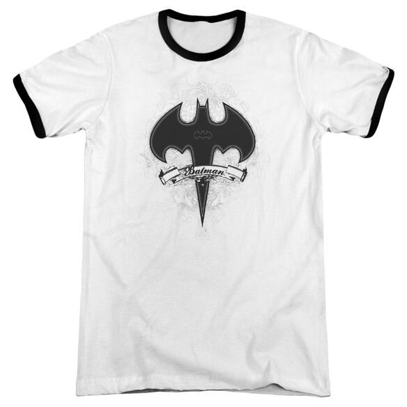 Batman Gothic Gotham Adult Ringer White Black