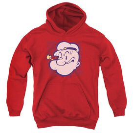 Popeye Head-youth Pull-over Hoodie - Red