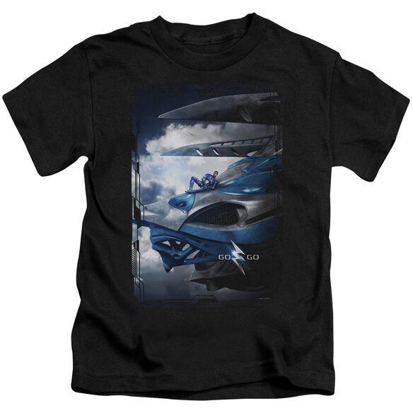Power Rangers Blue Zord Poster Short Sleeve Juvenile Black T-Shirt
