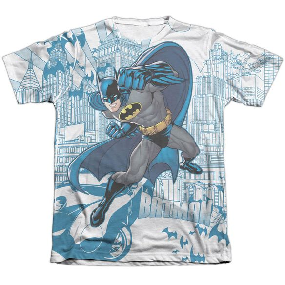 Batman Skyline All Over Adult 65 35 Poly Cotton Short Sleeve Tee T-Shirt