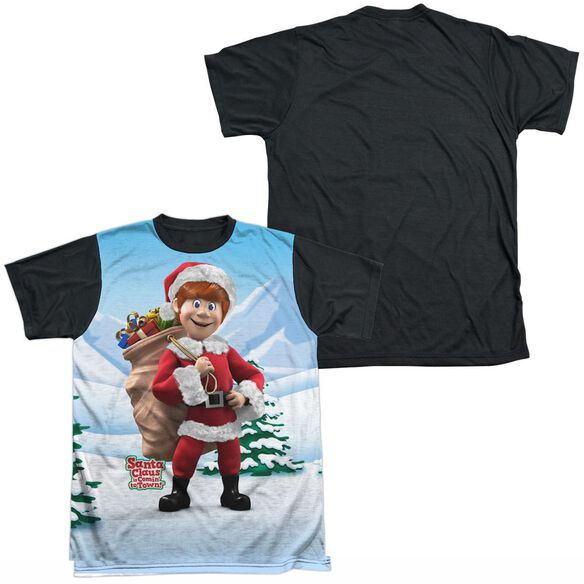 SANTA CLAUS IS COMIN TO TOWN HELPERS-S/S ADULT WHITE FRONT BLACK BACK T-Shirt