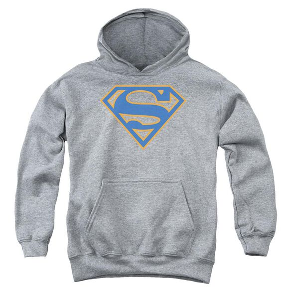 Superman Blue & Orange Shield Youth Pull Over Hoodie Athletic