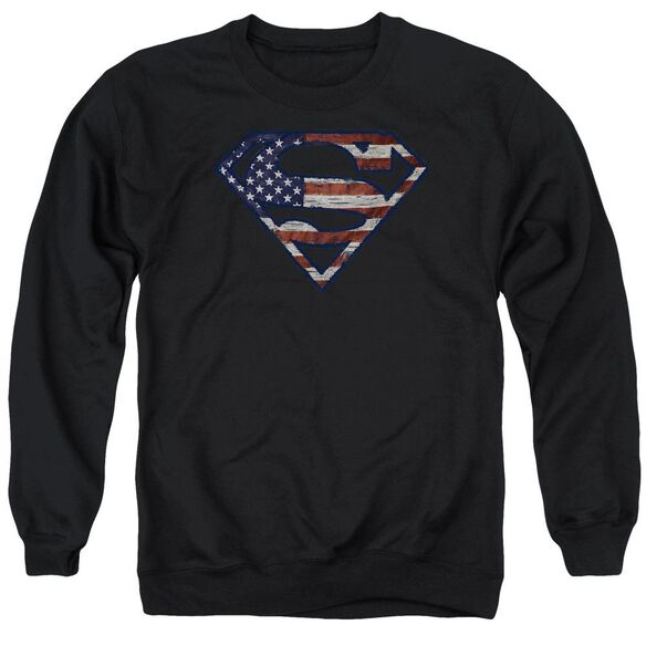 Superman Wartorn Flag Adult Crewneck Sweatshirt