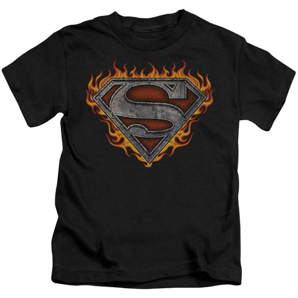 Superman Iron Fire Shield Short Sleeve Juvenile Black T-Shirt