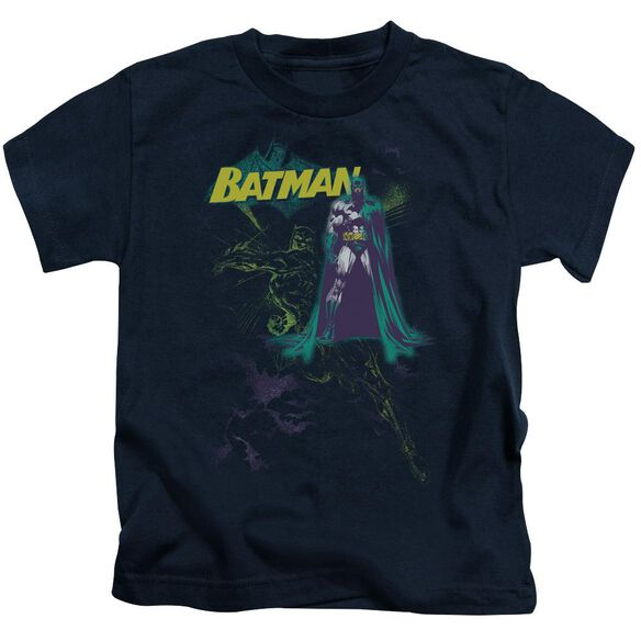 Batman Bat Spray Short Sleeve Juvenile Navy T-Shirt