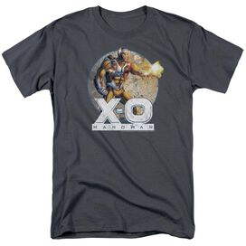 Xo Manowar Vintage Manowar Short Sleeve Adult Charcoal T-Shirt