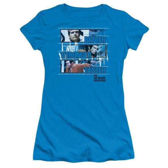 Six Million Dollar Man Better Stronger Faster Short Sleeve Junior Sheer T-Shirt