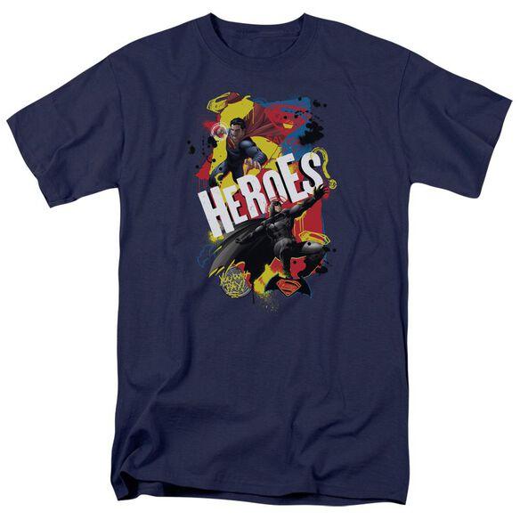 Batman V Superman Double Hero Short Sleeve Adult Navy T-Shirt