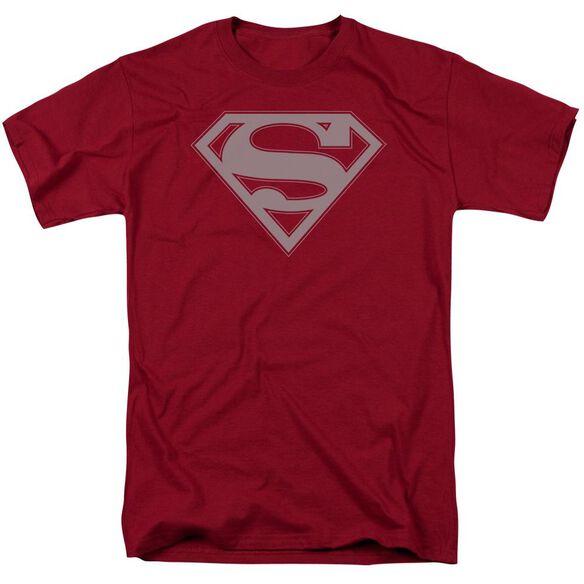 Superman Crimson & Gray Shield Short Sleeve Adult Cardinal T-Shirt