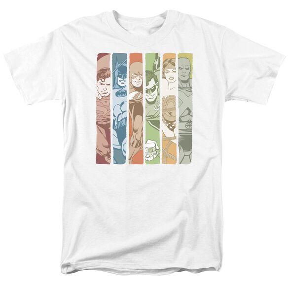 Dc Justice League Columns Short Sleeve Adult White T-Shirt