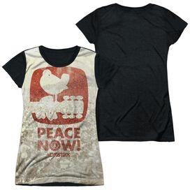 Woodstock Peace Now Short Sleeve Junior Poly Black Back T-Shirt
