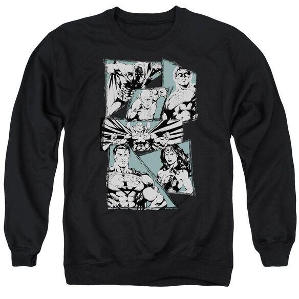 Jla A Mighty League Adult Crewneck Sweatshirt