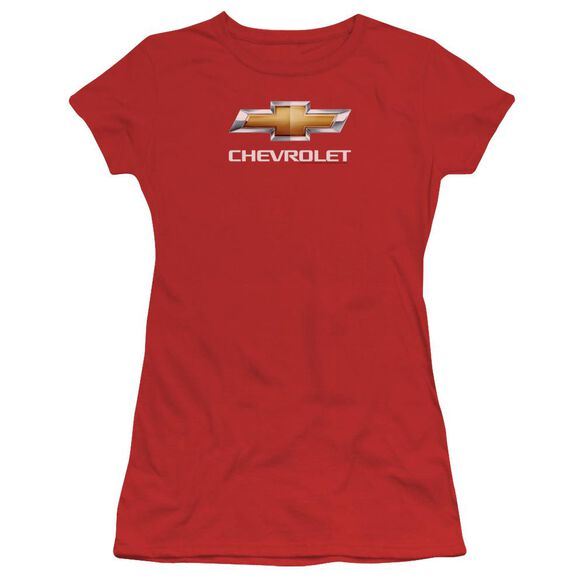 Chevrolet Chevy Bowtie Stacked Short Sleeve Junior Sheer T-Shirt
