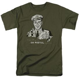 Go Postal Short Sleeve Adult Military Green T-Shirt