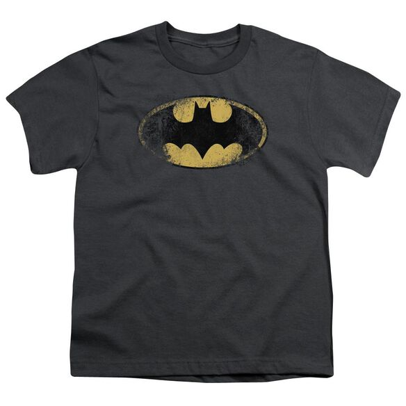 BATMAN DESTROYED LOGO - S/S YOUTH 18/1 - CHARCOAL T-Shirt
