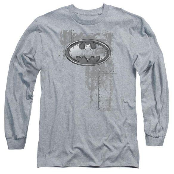 Batman Rivited Metal Logo Long Sleeve Adult Athletic T-Shirt