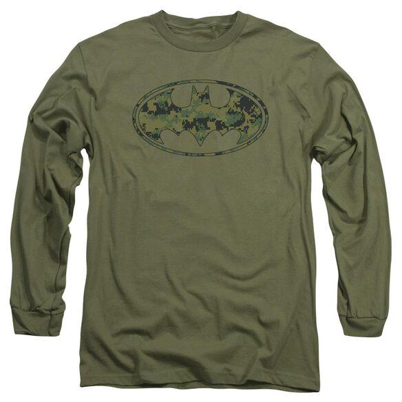 BATMAN MARINE CAMO SHIELD - L/S ADULT 18/1 - MILITARY GREEN T-Shirt