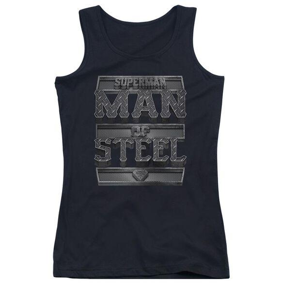 Superman Steel Text Juniors Tank Top