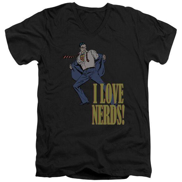 Dc I Love Nerds Short Sleeve Adult V Neck T-Shirt