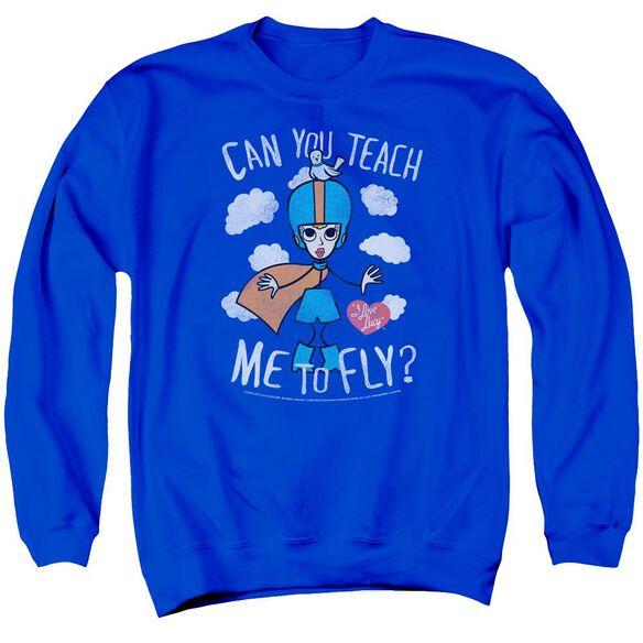 I Love Lucy Fly Adult Crewneck Sweatshirt Royal