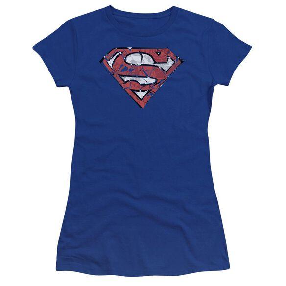 Superman Ripped And Shredded Premium Bella Junior Sheer Jersey Royal