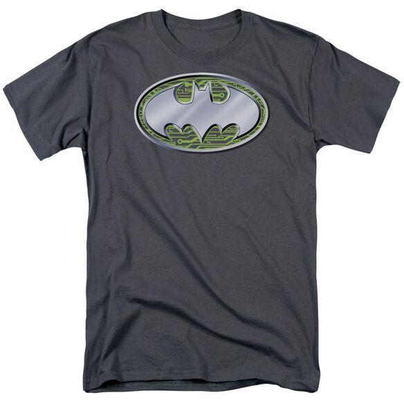 Batman Circuits Logo Short Sleeve Adult Charcoal T-Shirt