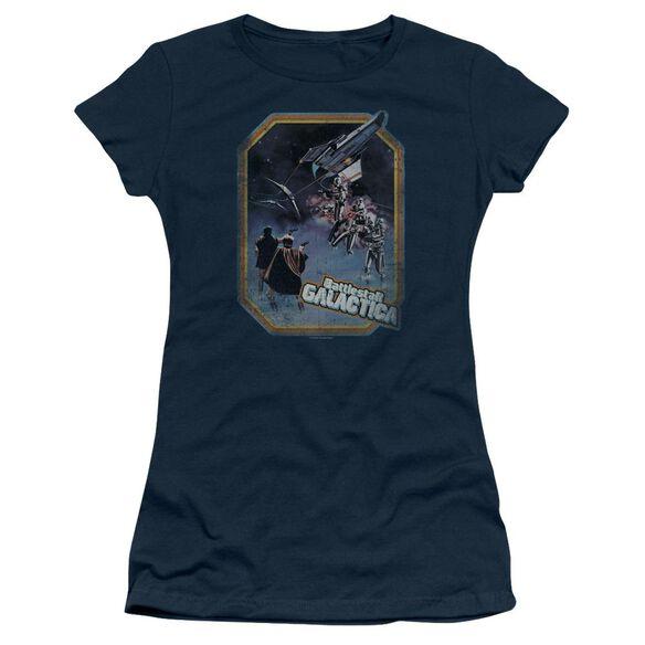 BSG POSTER IRON ON - S/S JUNIOR SHEER - NAVY T-Shirt