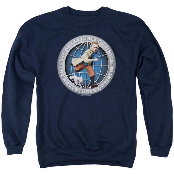 Tintin Globe Adult Crewneck Sweatshirt