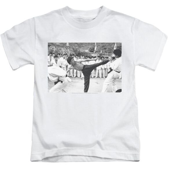 Bruce Lee Kick To The Head Short Sleeve Juvenile White T-Shirt