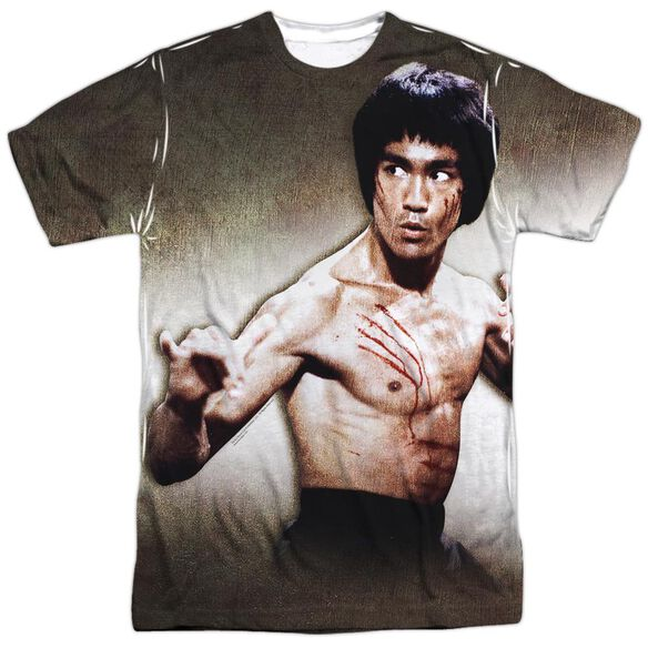 Bruce Lee Scratched Short Sleeve Adult 100% Poly Crew T-Shirt