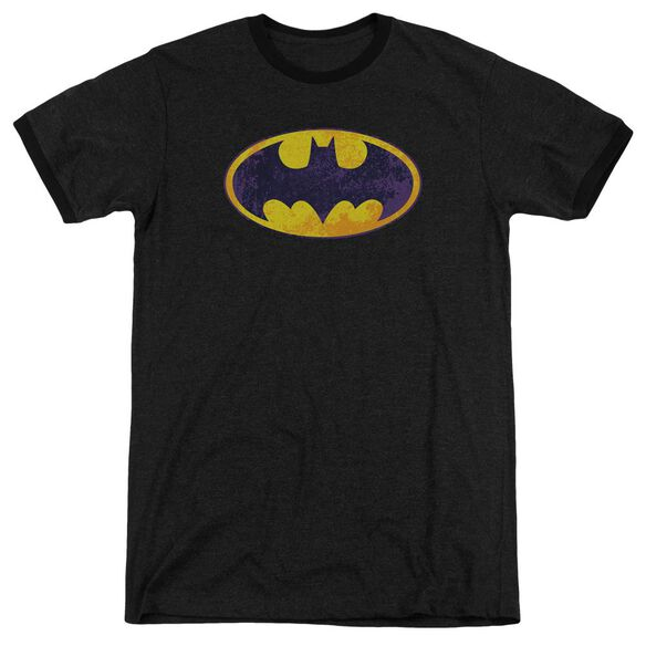 Batman Bm Neon Distress Logo Adult Heather Ringer