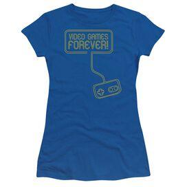 Video Games Forever Short Sleeve Junior Sheer Royal T-Shirt