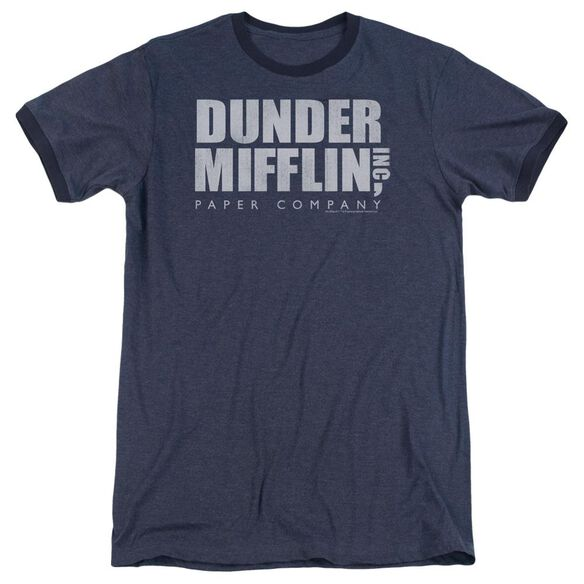 The Office Dunder Mifflin Distressed Adult Heather Ringer Navy