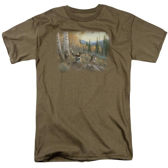 Wildlife Mule Deer Short Sleeve Adult Safari Green T-Shirt
