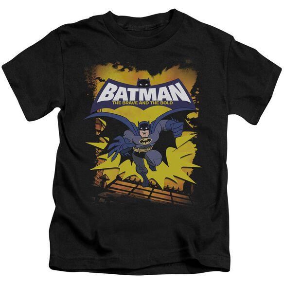 Batman Bb Rooftop Leap Short Sleeve Juvenile Black Md T-Shirt