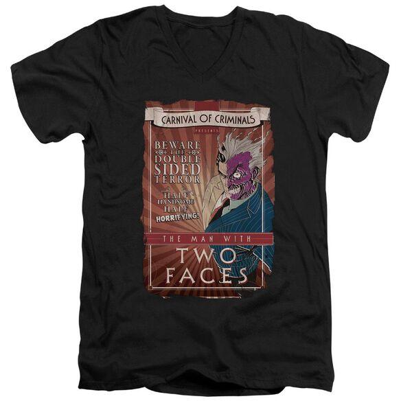 BATMAN TWO FACES - S/S ADULT V-NECK - BLACK T-Shirt