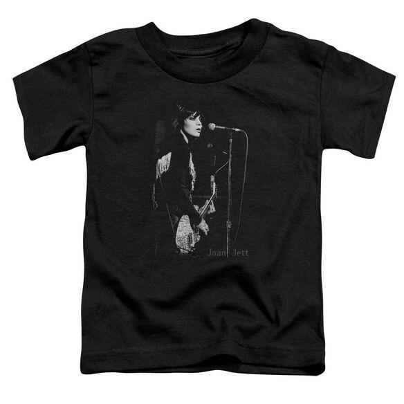 Joan Jett On The Mic Short Sleeve Toddler Tee Black T-Shirt