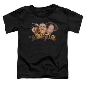 Three Stooges Three Head Logo Short Sleeve Toddler Tee Black T-Shirt
