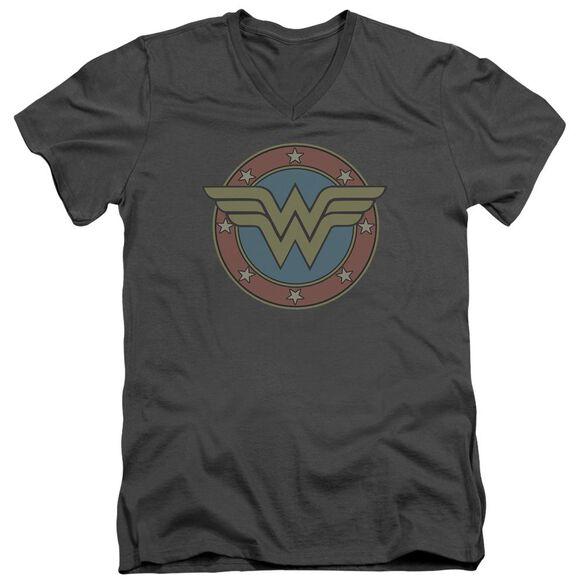 Dc Ww Vintage Emblem Short Sleeve Adult V Neck T-Shirt