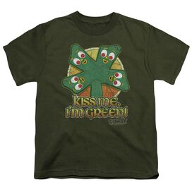 Gumby Kiss Me Short Sleeve Youth Military T-Shirt