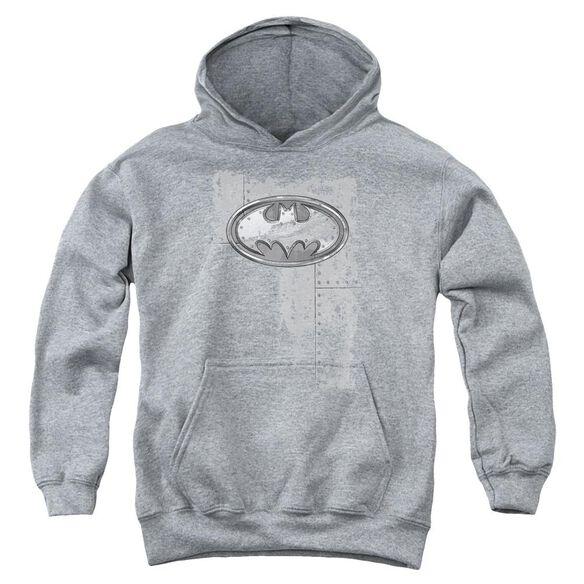 Batman Rivited Metal Logo Youth Pull Over Hoodie
