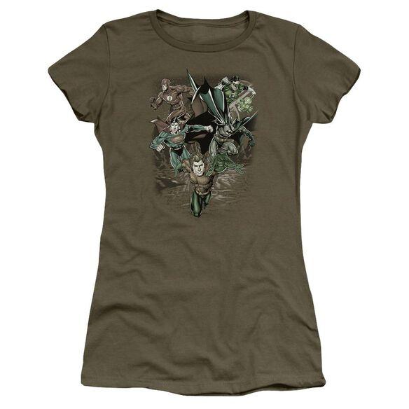 Jla Spacing Out Short Sleeve Junior Sheer Military T-Shirt