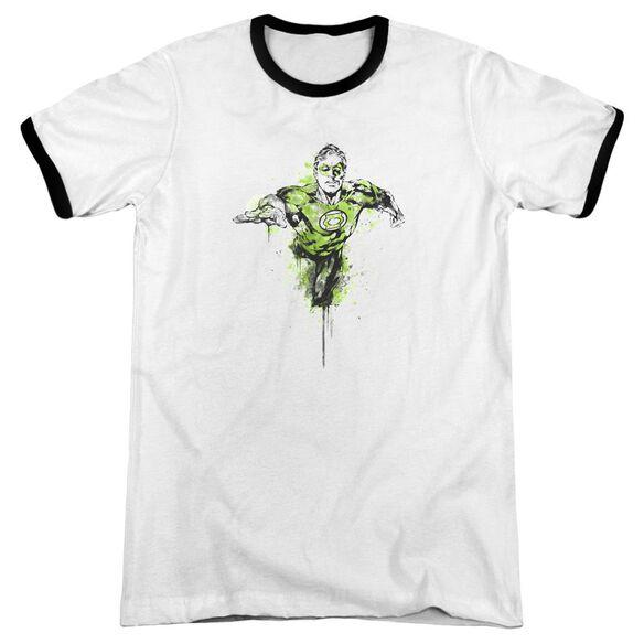 Green Lantern Inked Adult Ringer White Black