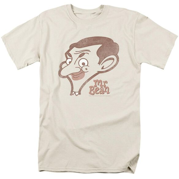 Mr Bean Cartoon Head Short Sleeve Adult Cream T-Shirt